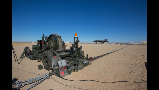 A mobile aircraft arresting system, or MAAS, unit that was recently overhauled by the Air Force Civil Engineer Center's Civil Engineer Maintenance Inspection and Repair Team, or CEMIRT, was put to good use in an F-35A Joint Strike Fighter aircraft arresting system capability test recently at Edwards AFB.