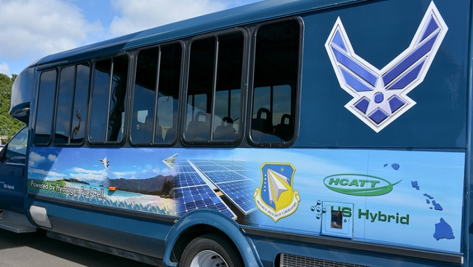 Air Force bus using hydrogen as fuel