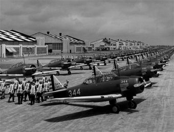 North American BT-9s lined up at March Air Field.