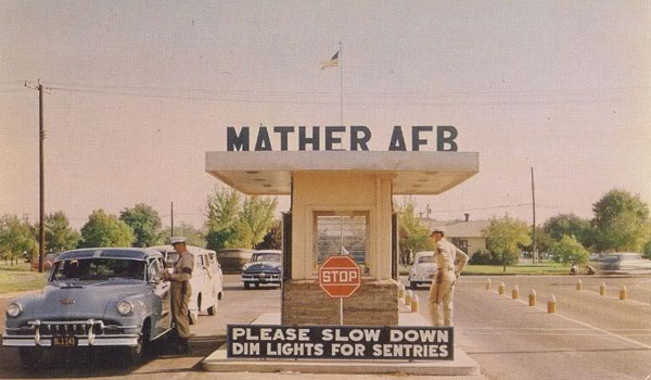 Mather Main Gate, circa 1955.