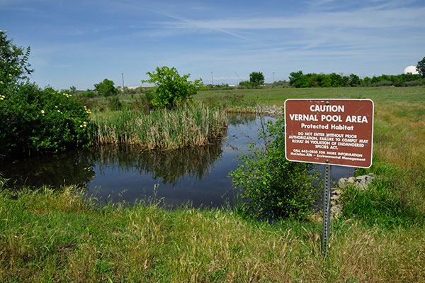 Sign indicating vernal pool area