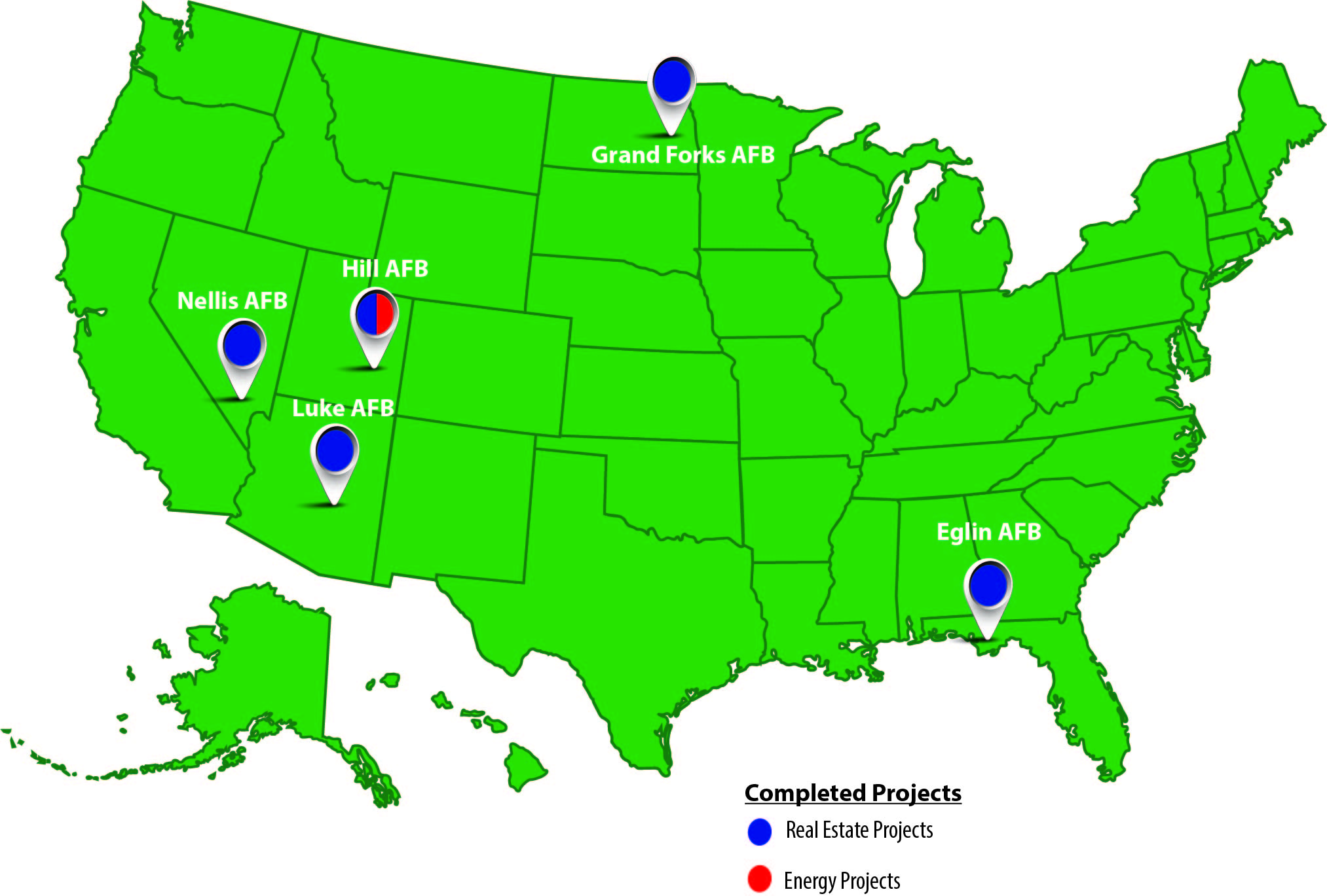 Map of completed projects