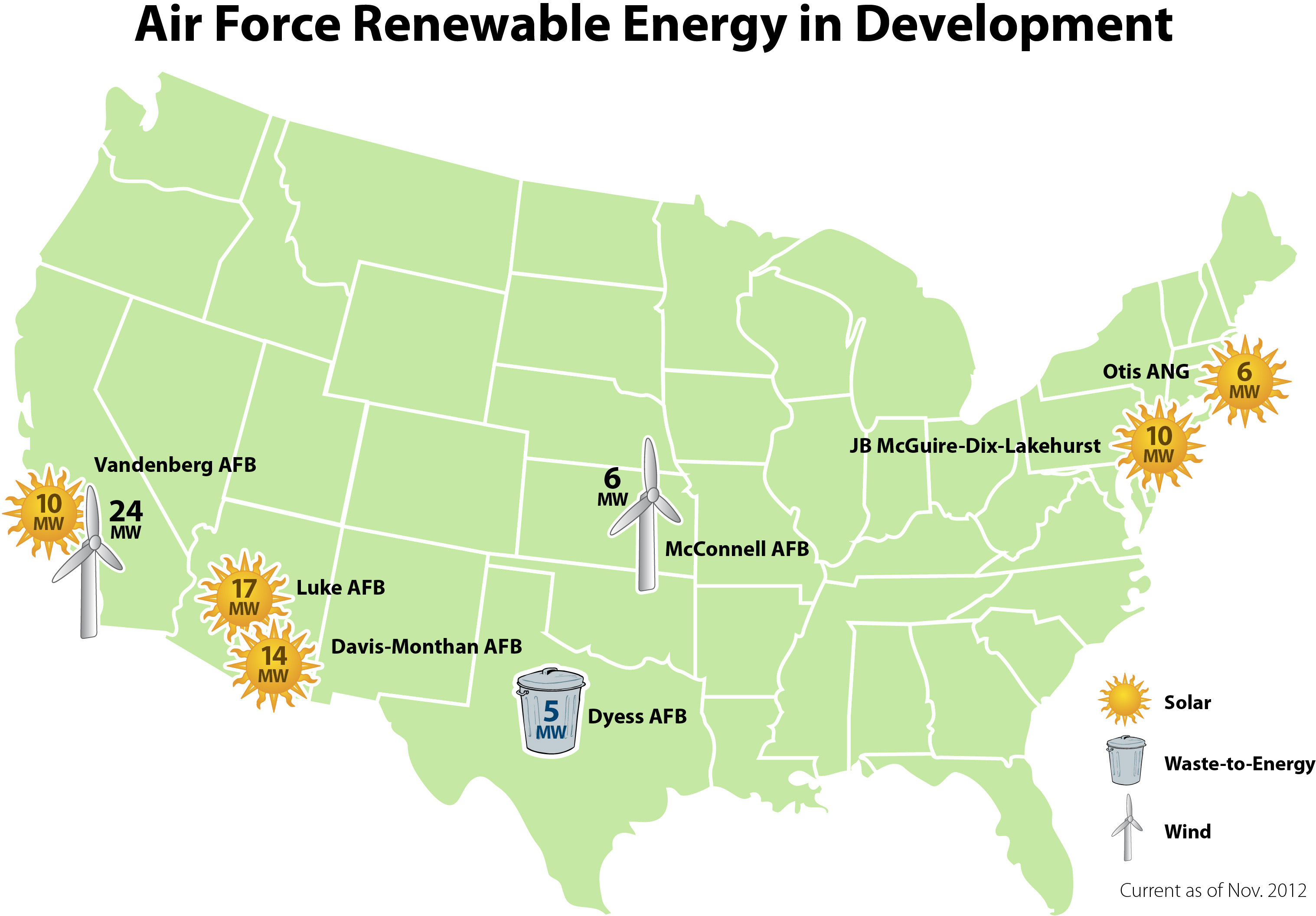 Air Force Renewable Energy Projects in Development Map